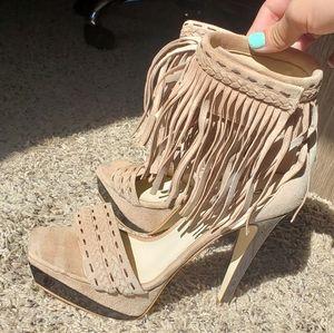 BEBE fringe Tan suede heels